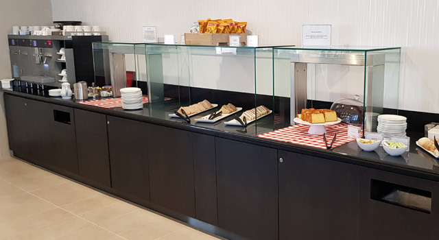 Hot and cold food display counter in lounge at Aberdeen Airport
