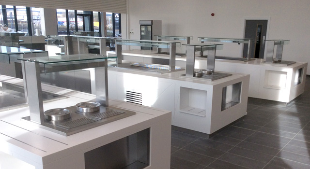 Heavy duty durable and versatile cooking appliances were specified to cater for around 1,500 plus staff over three sittings