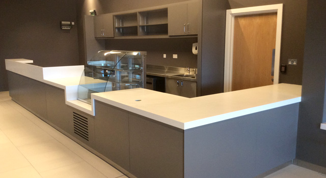 High end quality front of house Corian finishes were used where possible